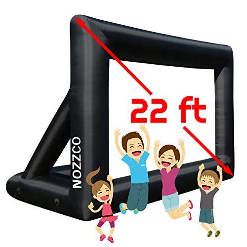 Nozzco 22ft aufblasbarer Film-Schirm mit Druck Party-Thema Film-Karten-Vorlagen | Tragbare Leicht und komplett ausgestattet mit Gebläse für Easy Set Up Ausgerüstet 22 Ft Diagonal Schwarz