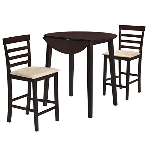 Festnight Jeu de Table de Bar bistrot et Chaise 3 pcs Bois Massif Marron foncé