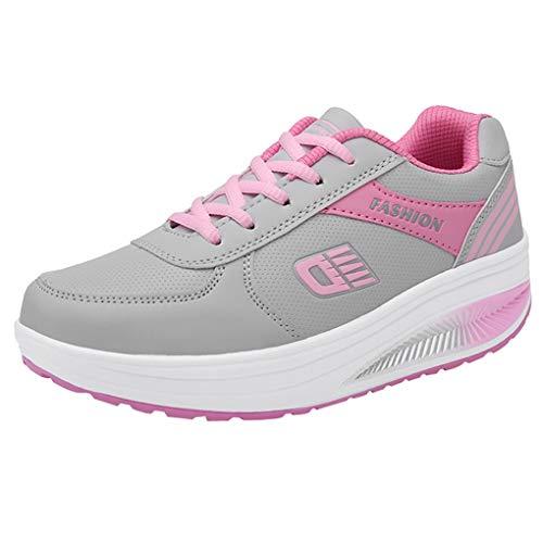 Dorical Sportschuhe für Damen/Frauen Turnschuh Plateau mit Keilabsatz Sneaker Fitnessschuhe Outdoor Leichte Laufschuhe Gym Schuhe Freizeitschuhe Traillaufschuhe für Mädchen (Rosa,41 EU) Mikasa-jet