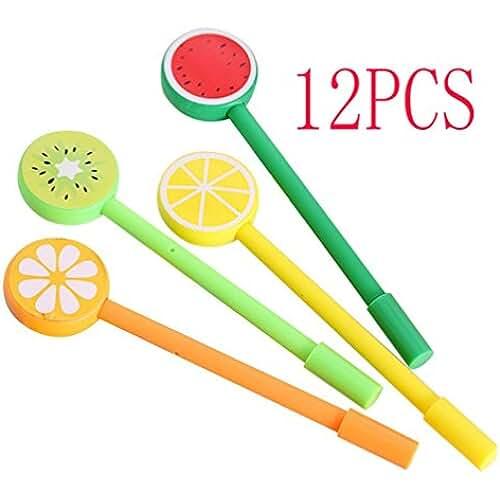 material para la escuela kawaii Cosanter 12PCS Bolígrafo de Tinta de Gel para Niña, Kawaii Papelería, Forma de Fruta Lollipop ,Pin Tipo, 0,5MM, Negro