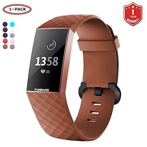 FunBand für Fitbit Charge 3 Armband,Klassisch Verstellbares Ersatz weiches Silikon Sporty Wrist Strap Band Armbanduhr Uhrenarmband Schlaufe Armbänder für Fitbit Charge 3 Smartwatch (Small & Large)