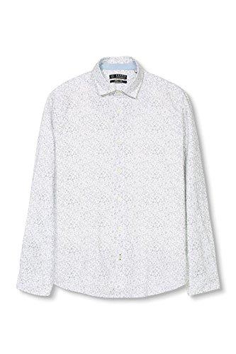 ESPRIT mit floralem Print - Chemise casual - coupe cintrée - Manches courtes - Homme Blanc (WHITE 100)