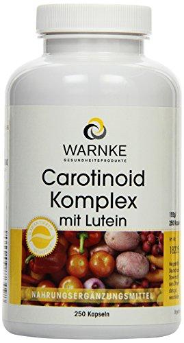 Warnke Gesundheitsprodukte Carotinoid Komplex mit Lutein, Zeaxanthin, Beta-Carotin und Lycopin, 250 Kapseln, Großpackung, 1er Pack (1 x 162 g)