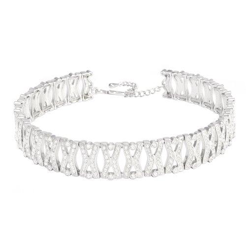 Cristalina-Choker-Classic-rhodiniert-Kristalle-Party-Halskette-verstellbare-Lnge