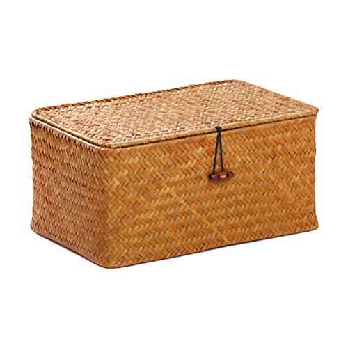 Oyria Handgemachte gewebte Aufbewahrungskorb Box mit Deckel & Schloss, Wicker Aufbewahrungskorb Regal Korb Veranstalter Seagrass Wäschekörbe Rattan Schmuckschatulle -