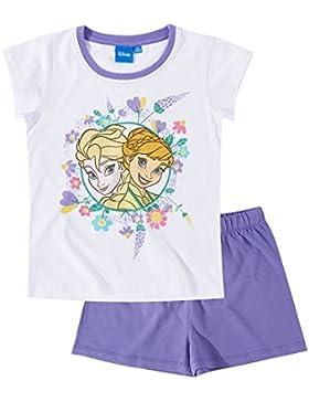 Disney Die Eiskönigin Elsa & Anna Mädchen Shorty-Pyjama - weiß