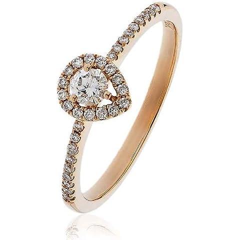 0.25ct Certificato G/VS2Round Brilliant Centro con forma di pera Halo Diamante Anello con diamante spalle in Oro Rosa 18K