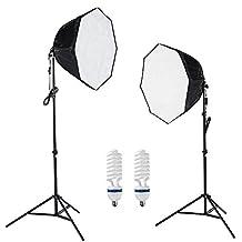 PMS 2x 60cm Octágono Softbox 2x E27 5500K lámpara fotografía continua iluminación kit Trípode Daynight Foto Video Studio Kit