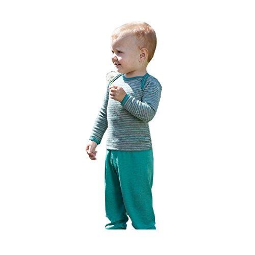 Engel Bio Merino Wolle Seide Baby Hose Longies Pyjama, unten Eco 70 3501 Satinband, Eisvogel,Gr.86/92