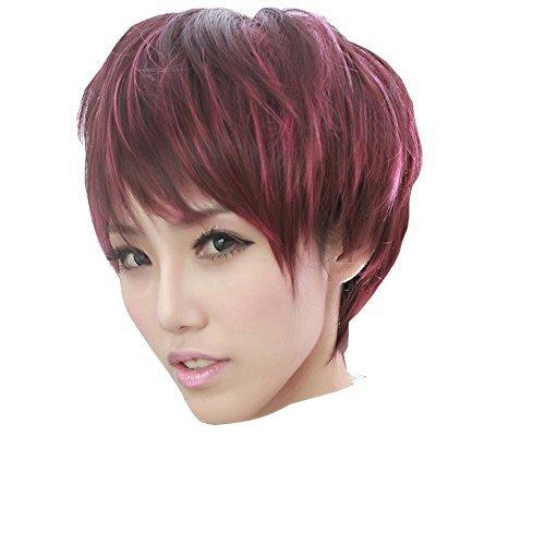 Dayiss, Perruque femme courte lisse vin rouge soirée/cosplay/déguisement