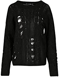 Be Jealous Womens Ladies Oversized Destroyed Distress Chunky Knitted Ripped Baggy Jumper UK Plus Size 8-22
