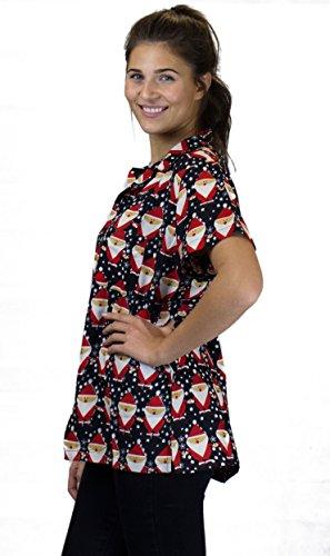 OH Funky Camicetta Hawaiana | Donna | XS - 6XL | Maniche Corte | Tasca Frontale | Stampa Hawaiana | Natale disegni | diversi colori SantaAlloverBlack