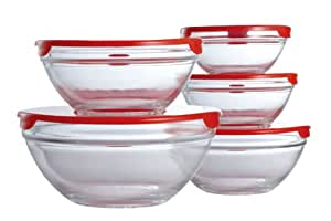 Premier Housewares Glass Storage Bowls with Red Lids - Set of 5