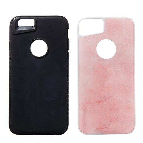 iPhone 6 Plus Coque Coquille Silicone en Tpu Housse Etui iPhone 6S Plus Black Noir Romantique Élégant Beau Pierre Motif [Tpu+Pc]Ultra Mince Thin Transparent Flexible Doux Caoutchouc Couverture Etui de Rose