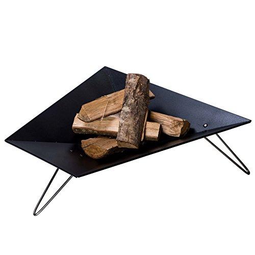 VASNER Merive M3 Feuerschale Stahl schwarz, 3 Edelstahl Beine, modern, eckig ca. 60 cm, für Terrasse, Garten - Feuerstelle, Feuerkorb