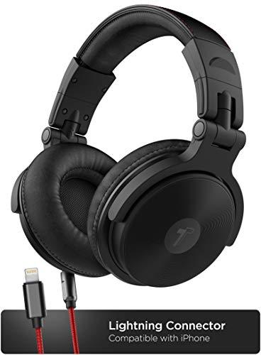 Thore Over-Ear-Kopfhörer für iPhone mit Lightning-Anschluss (Apple MFi-Zertifiziert), geschlossene Rückseite für Studio-DJ-Monitor, 50 mm Neodym-Treiber, Schwarz/Rot