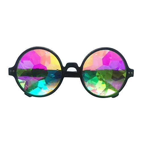 AOLVO Kaleidoskop-Brille, EDM, Festival, Prisma, Beugung, Regenbogenfarben, Sonnenbrille, Schwarzer Rahmen