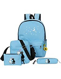 Zibuyu 4pcs Women Backpacks Cute Cat Printing Canvas Backpacks School Bags(Blue)