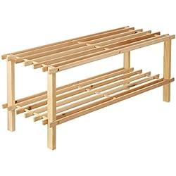 Premier Housewares - Zapatero con diseño de rejilla, 2 estantes, madera de cedro clara 74 x 26 x 30cm