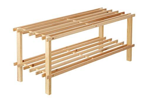 Premier housewares 2402099 scarpiera, 2 livelli, legno di cedro, naturale
