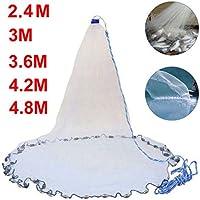 Zaoyun 2.4m/3.6m/4.2m/4.8m Rete da Pesca in Nylon,Rete da Pesca di Lancio della Mano per Esche Pesci con Corda della Mano 8m, zavorra di Piombo Pesi per Pesce Trappola da Pesca (A-2.4M)