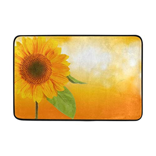 deyhfef Non-Slip Polyester Doormat Sunflower Washable Entrance Rug for Inside Outside Floor Toilet Patio Living Room -