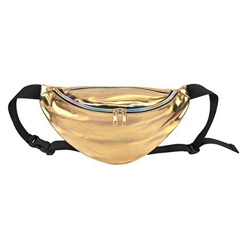 TTD Mode Frauen Laser Rave Taille Reisetasche Fanny Pack bum Bag-Golden