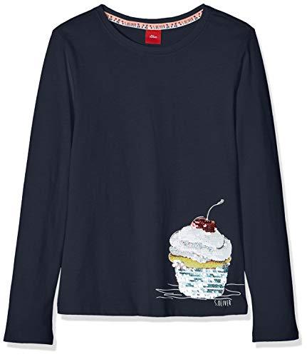 s.Oliver Mädchen 53.901.31.8770 Langarmshirt, Blau (Dark Blue 5834), 104 (Herstellergröße: 104/110/REG) (Langarm-shirt Pailletten)