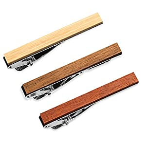 3-er Packung Krawattenklammer / Krawattennadel 5.4 cm Holz Für Schmale Krawatte im Geschenketui, Geschenkset (Macaranduba, Palo Santo, Bambus)