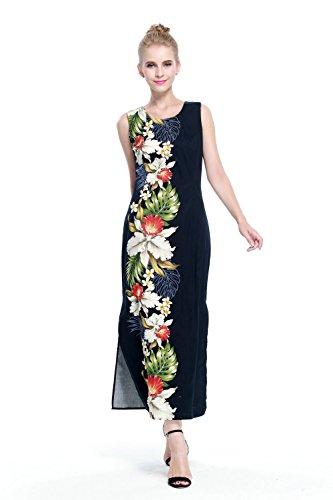 Hecho-en-Hawai-Mujer-hawaiano-Luau-Vestido-de-tanque-largo-en-Orqudea-negra-del-lado