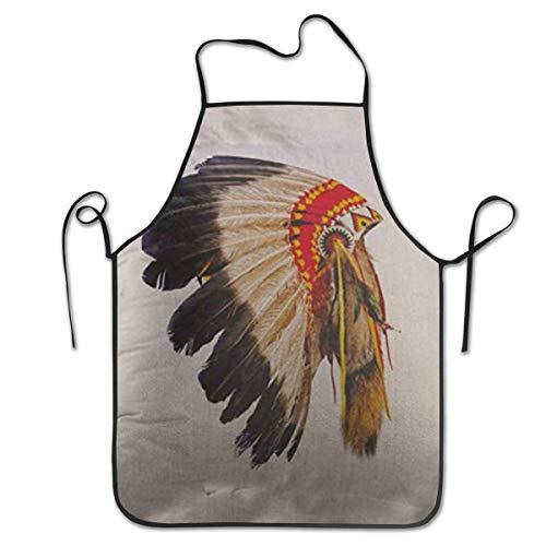 Tribal Indianer Kostüm - Ye Hua Indianer Häuptling Kopfschmuck Maskottchen Kostüm Tribal Feather Küchenschürzen Einstellbare Latzschürze 28,3x20,5 Zoll