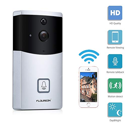 FLOUREON Wireless HD Video Doorbell Smart Doorbell WiFi Security Camera  with Real-Time Two-Way Talk, PIR Motion Detection, Night Vision, APP Remote