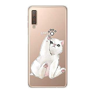 Herbests Kompatibel mit Samsung Galaxy A7 2018 Hülle Transparent mit Muster Motiv Crystal TPU Silikon Handyhülle Weich Durchsichtige Schutzhülle Handytasche Softcase Backcover,Weiß Katze