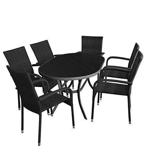 7tlg. Gartengarnitur - Glastisch oval Gartentisch mit schwarzer Tischglasplatte 140x90cm + 6x Rattan Stapelstuhl mit schwarzer Polyrattanbespannung - Sitzgruppe Sitzgarnitur Gartenmöbel Terrassenmöbel
