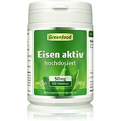 Greenfood Eisen aktiv, 50 mg, extra hochdosiert, 120 Tabletten, hohe Verfügbarkeit, hervorragende Verträglichkeit, vegan – wichtig für Blutbildung, Energie und Immunsystem. OHNE künstliche Zusätze.