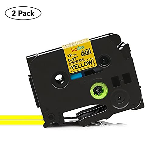 Kodex Compatible TZe-631 TZ-631 Standard Laminated Adhesive Label Tape Black on Yellow 12 mm x 8 m for Brother P-touch PT1700 PT1750 PT1760 PT1800 PT1810 PT1830 PT1880 PT1890W PT1900 PT1910 PT1950 PT1960 PT2030 PT2030AD PT2030VP PT2100 PT2110 PT2200 PT2210 PT2300 PT2310 PT2400 PT2410 PT2430PC