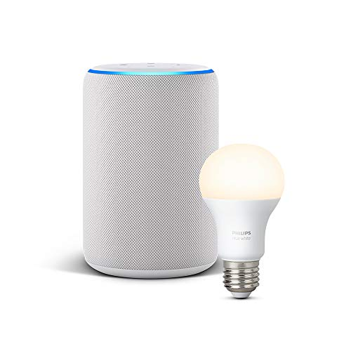 Echo Plus (2.ª generación), tela de color gris claro + Philips Hue...