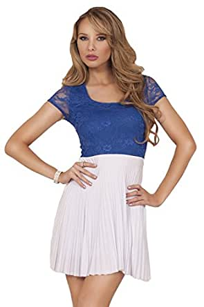 Short Sleeve Scoop Neck Lace Top Two Toned Accordion Pleated Mini Party Dress