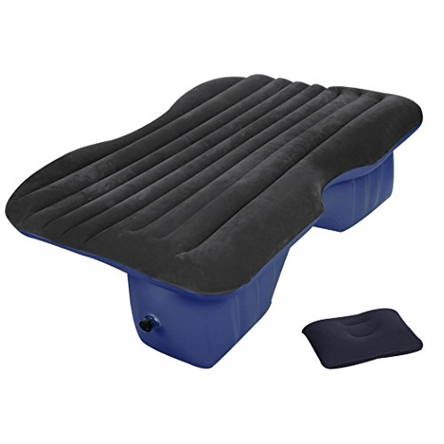 Auto Air Bed komfortables Reisen aufblasbares Auto Rücksitz Luftbett mit Luftpumpe, Reparatur- Pad und Kissen (Blau)