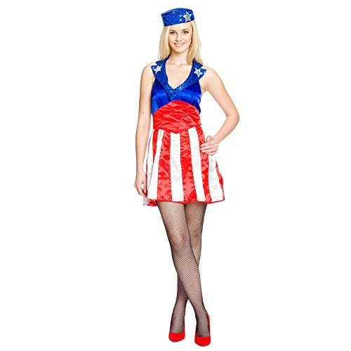 Miss America Kostüm für Comic Superhelden Fans Mini Kleid mit Kappe - (Captain America Girl Halloween Kostüme)