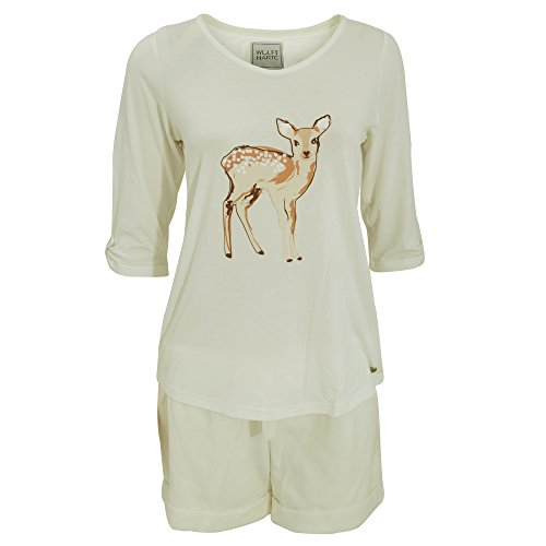 Wolf And Harte Damen Schlafanzug mit Tier-Motiv und Shorts (38-40 DE) (Creme)