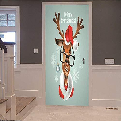 TACBZ 3D Brille Weihnachten Hirsch 77X200 Cm Simulation Tür Wandkunst Diy Tür Aufkleber Wohnzimmer Schlafzimmer Hotel Kindergarten Pvc Vinyl Dekorative Tür Wandaufkleber