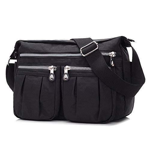 sportliche Handtasche / Schultertasche / Umhängetasche aus Nylon, Umhängetasche Bodybag (Schwarz)
