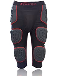 Full Force AntiShock 7-Pad Football Girdle, sous-pantalon de football américain - noir/rouge