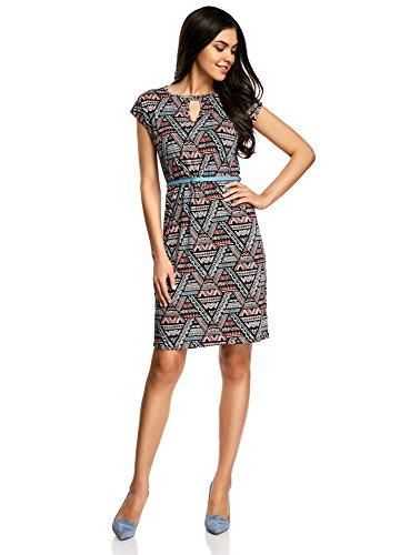 oodji Collection Damen Jersey-Kleid mit Gürtel, Mehrfarbig, DE 44/EU 46/XXL