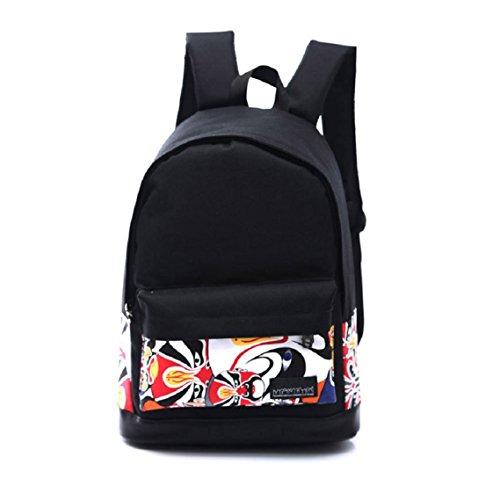 BZLine® 1PC Unisex jungen-Mädchen-Leinwand-Rucksack Schulbuch-Schulter-Beutel Taschen, 45 * 30 * 14 cm A
