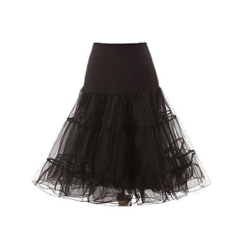 Engerla Women 50Rollo de tul en cascada Underskirt Petticoat Rockabilly Miriñaque Swing 1960de 25cm de largo, trapecio, Mujer, color negro, tamaño Talla única