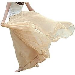 Feoya Mujer Maxi Larga Falda Bohemia Dobladillo Grande Chifón Skirt - Albaricoque