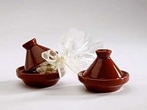 lot 4 de mini tajine en terre bordeaux - boite à dragée - pour baptême mariage communion - ballotin à dragées design et moderne