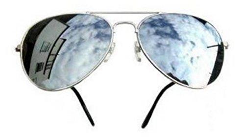 Sonnenbrille Piloten- / FBI-Stil, verspiegelte Gläser, Gestell silberfarben